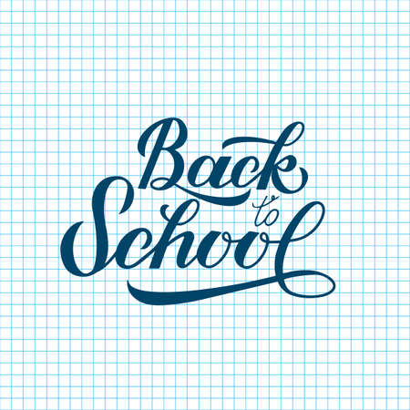 Back to school calligraphy hand lettering on checkered page of exercise book. Cell paper background. Easy to edit vector template for typography poster, banner, flyer, greeting card, postcard, etc. Stock Illustratie