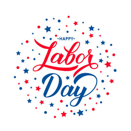 Happy Labor Day lettering with blue and red stars isolated on white. Vector template for typography poster, logo design, banner, flyer, greeting card, postcard, party invitation, tee-shirt, etc. Zdjęcie Seryjne - 129254767