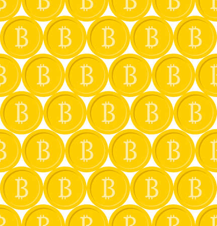 Bitcoin seamless pattern. Cryptocurrency,  Digital currency or Virtual money Gold coins background.. Blockchain technology. Easy to edit vector template.