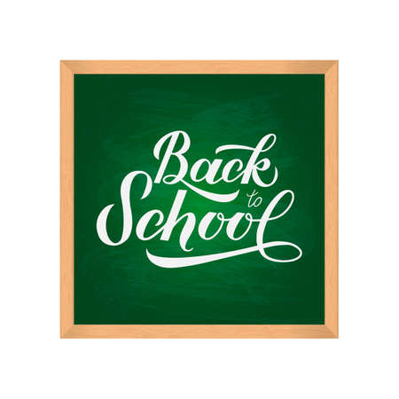 Green school board with wooden frame isolated on white. Back to school  theme. Easy to edit vector template for typography poster, logo design, banner, flyer, sign, greeting card, postcard, etc.