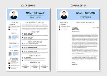 CV-sjabloon voor mannen. Moderne CV en sollicitatiebrief lay-out met infographic. Minimalistisch curriculum vitae-ontwerp. Werkgelegenheid vectorillustratie.