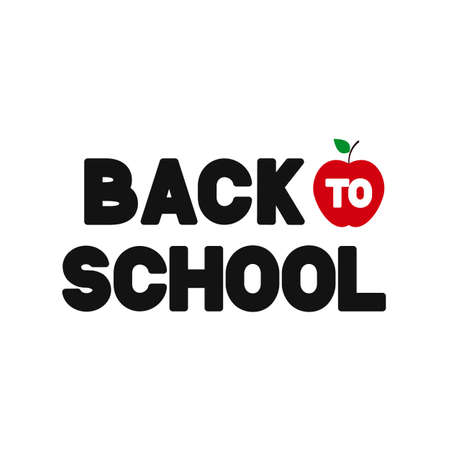 Back to school lettering isolated on white. Easy to edit vector template for typography poster, logo design, banner, flyer, greeting card, postcard, party invitation, tee-shirt, etc.