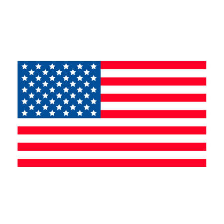 United States of America flag isolated on white. National symbol of USA. American patriotic background. Easy to edit vector template for banner, roster, greeting card, t-shirt, etc.
