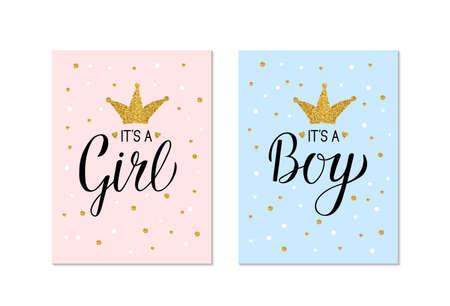 Banners de revelación de género Es una niña y es un niño. Letras de caligrafía con corona de oro brillo y confeti. Plantilla de vector para decoración de fiesta de ducha de bebé, invitación, anuncio, cartel, etc.