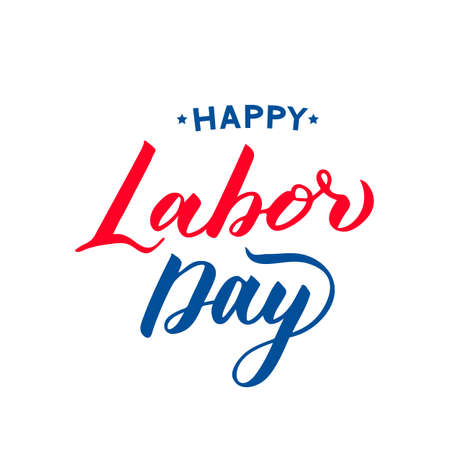 Happy Labor Day hand lettering isolated on white. Easy to edit vector template for typography poster, banner, flyer, logo design, greeting card, postcard, party invitation, t-shirt, etc.