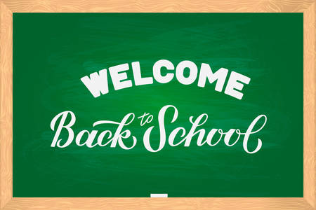 Welcome Back to school hand lettering on green board with wooden frame. Vector template for typography poster, logo design, banner, flyer, greeting card, sticker, party invitation, t-shirt, etc.