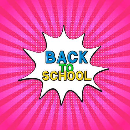 Comic lettering Back to school on bright pink background. Retro banner in Pop Art style. Vector template for logo design, typography poster, sign, flyer, postcard, party invitation.
