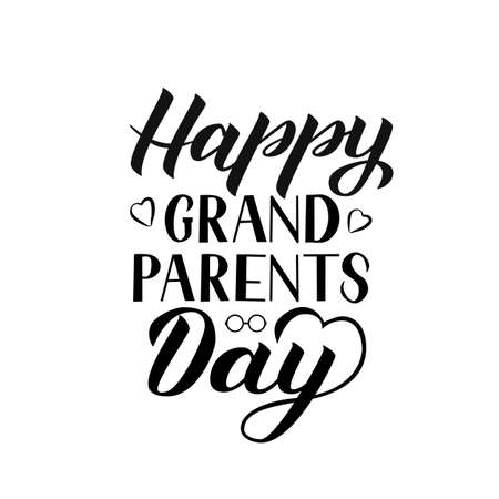 Happy Grandparents Day calligraphy hand lettering isolated on white. Greeting card for grandmother and grandfather. Easy to edit vector template for banner, poster, postcard, t-shirt, mug, etc.