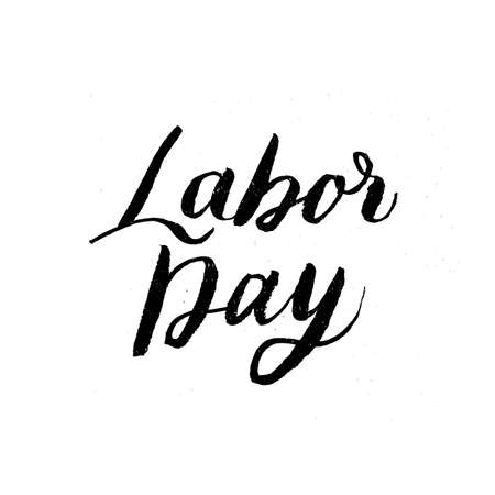Happy Labor Day grunge brush lettering isolated on white. Easy to edit vector template for typography poster, logo design, banner, flyer, greeting card, postcard, party invitation, t-shirt, etc.
