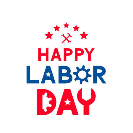 Happy Labor Day calligraphy hand lettering isolated on white. Easy to edit vector template for typography poster, banner, logo design, flyer, greeting card, postcard, party invitation, tee-shirt, etc.