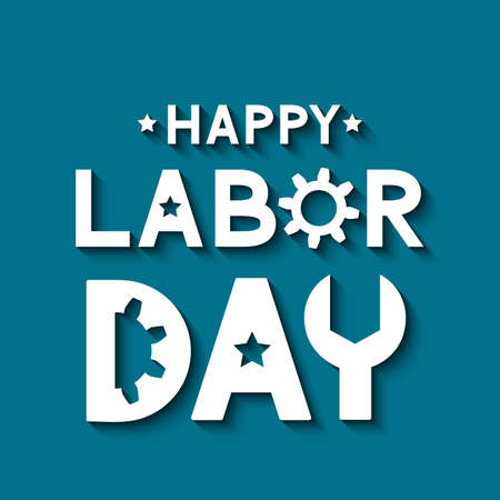 Happy Labor Day lettering on blue background. Easy to edit vector template for typography poster, logo design, banner, flyer, postcard, greeting card, party invitation, etc. 일러스트