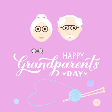 Happy Grandparents Day calligraphy hand lettering with cartoon grandmother and grandfather. Easy to edit vector template for Greeting card, banner, poster, postcard, t-shirt, mug, etc.