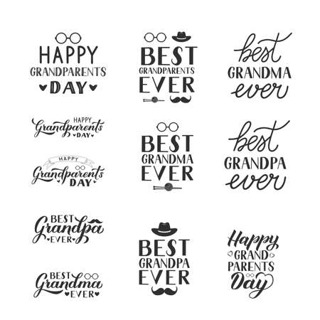 Set of Grandparents Day hand lettering isolated on white. 11 easy to edit vector elements of design for greeting cards, banner, typography poster, postcard, sticker, t-shirt, mug, etc.