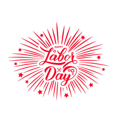 Happy Labor Day calligraphy hand lettering with fireworks. Easy to edit vector template for typography poster, logo design, banner, flyer, greeting card, postcard, party invitation, tee-shirt, etc.