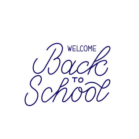 Welcome Back to school hand lettering isolated on white. Easy to edit vector template for typography poster, logo design, banner, flyer, greeting card, postcard, party invitation, tee-shirt, etc.