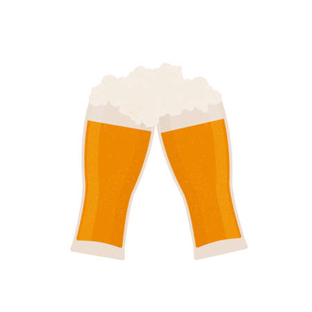 Two glasses of  foaming beer isolated on white. Traditional Bavarian beer festival Oktoberfest. Flat vector icon. Template for logo design, poster, banner, flyer, t-shirt, invitation, sticker, etc.