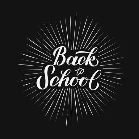 Back to school calligraphy hand lettering. Easy to edit vector template for typography poster, logo design, banner, flyer, greeting card, postcard, party invitation, tee-shirt, etc.