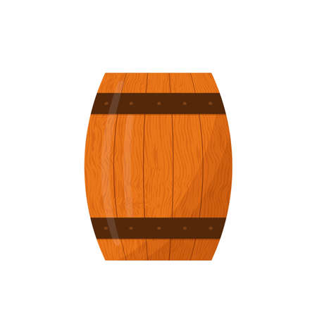 Wooden Barrel for beer or wine isolated on white.  Barrel flat vector icon. Easy to edit vector element of design for your brewery or winery design, poster, banner, flyer, bar or pub menu, etc. Illustration
