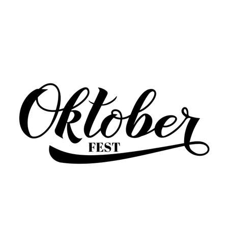 Oktoberfest calligraphy hand lettering isolated on white. Traditional German beer festival. Easy to edit vector element of design  for your logo design,  poster, banner, flyer, t-shirt, invitation. Ilustracja