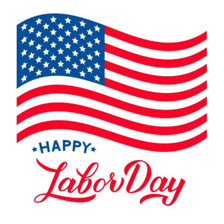 Happy Labor Day calligraphy hand lettering and USA flag isolated on white. Vector template for typography poster, logo design, banner, flyer, greeting card, postcard, party invitation, tee-shirt, etc. Ilustracja