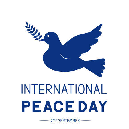 International Peace Day lettering with flying dove and olive branch. Flat vector illustration. Easy to edit template for logo design, greeting card, postcard, banner, typography poster, flyer, etc.