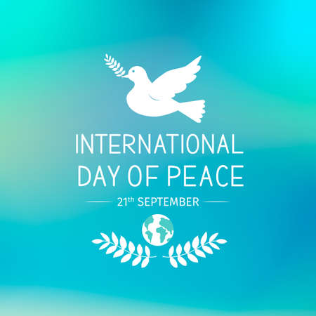International Peace Day lettering with flying dove and olive branch. Flat vector illustration. Easy to edit template for logo design, typography poster, greeting card, postcard, banner, flyer, etc.