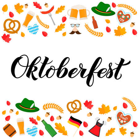 Oktoberfest calligraphy hand lettering with traditional symbols in flat style. Munich beer festival. Easy to edit vector template for your logo design, poster, banner, flyer, brochure, etc. Ilustração