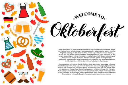 Oktoberfest calligraphy hand lettering with traditional symbols in flat style. German beer festival. Easy to edit vector template with copy space for logo design, poster, banner, flyer, brochure, etc Ilustração