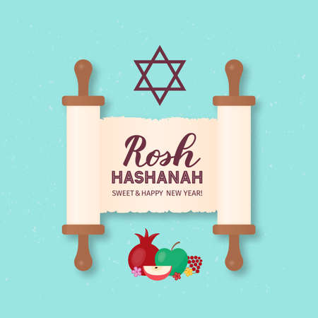 Rosh Hashanah Jewish New Year calligraphy hand lettering on old scroll paper. Easy to edit vector template for banner, typography poster, greeting card, invitation, flyer.