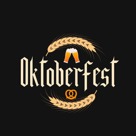 Oktoberfest fraktur font gothic lettering with ears of wheat. Traditional Bavarian beer festival. Easy to edit vector template for your logo design, poster, banner, flyer, t-shirt, invitation, etc.