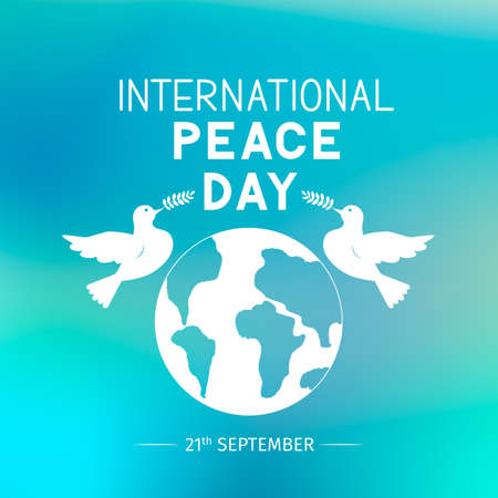 International Peace Day lettering with flying doves holding olive branches. Flat vector illustration. Easy to edit template for logo design, typography poster, greeting card, postcard, banner, flyer. Ilustração