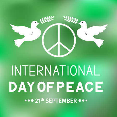 International Peace Day banner with lettering, flying doves, olive branches and pacific symbol. Easy to edit template vector for logo design, greeting card, typography poster, flyer, postcard, etc.