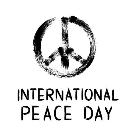 International Peace Day brush stroke lettering with and symbol of pacific. Grunge vector illustration. Easy to edit template for logo design, greeting card, postcard, banner, poster, flyer, etc. Ilustração