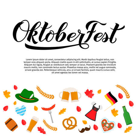Oktoberfest calligraphy hand lettering with traditional symbols in flat style. Munich beer festival. Easy to edit vector template with copy space for logo design, poster, banner, flyer, brochure, etc