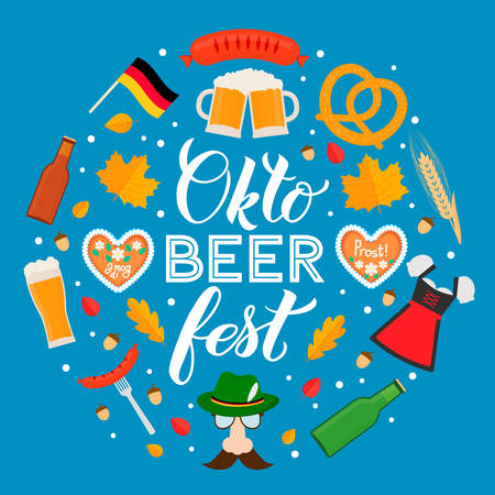 Oktoberfest calligraphy hand lettering with traditional symbols in flat style. Beer festival in Bavaria, Germany. Ilustración de vector