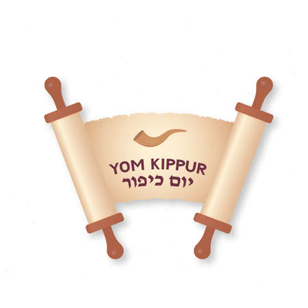 Yom Kippur Day of Atonement Jewish holiday typography poster. Old scroll paper with lettering. Easy to edit vector template for, greeting card, banner, flyer.