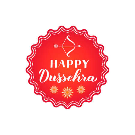 Happy Dussehra hand lettering with bow and arrow. Traditional Hindu festival vector illustration. Easy to edit template for typography poster, banner, flyer, invitation, badge, etc.