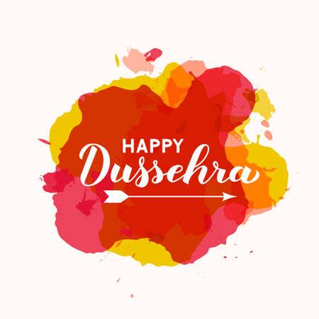 Happy Dussehra hand lettering with arrow on paint stains background. Traditional Hindu holiday vector illustration. Easy to edit template for typography poster, banner, flyer, invitation, etc. Ilustração
