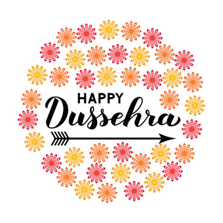 Happy Dussehra hand lettering with arrow. Traditional Indian holiday vector illustration. Easy to edit template for greeting card, typography poster, banner, flyer, invitation, etc.