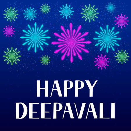 Happy Deepavali lettering with fireworks. Traditional Indian festival of lights Diwali typography poster. Easy to edit vector template for banner, flyer, sticker, postcard, greeting card.