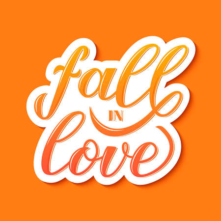 Fall in love calligraphy hand lettering sticker on ogange background. Easy to edit vector template for typography poster, banner, flyer, greeting card, wedding invitation, postcard, t-shirt. Illusztráció