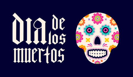 Dia de los Muertos fraktur font gothic lettering with sugar skull and flowers. Maxican holiday Day of the Dead typography poster. Vector template for greeting card, banner, poster, invitation, etc.
