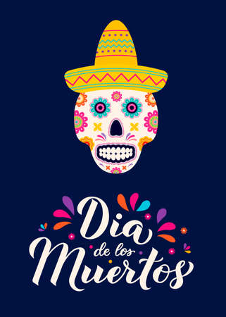 Dia de los Muertos calligraphy hand lettering with sugar skull, guitar and maracas. Mexican holiday Day of the Dead typography poster. Vector template for greeting card, banner, poster, invitation.