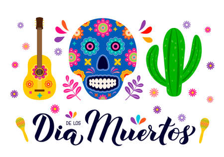 Dia de los Muertos calligraphy hand lettering with sugar skull, guitar and maracas. Maxican holiday Day of the Dead typography poster. Vector template for greeting card, banner, poster, invitation.