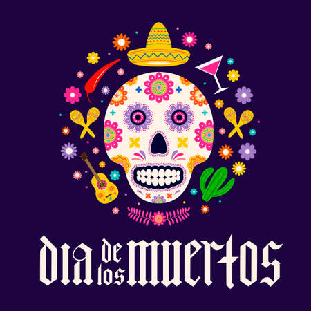 Dia de los Muertos fraktur font gothic lettering with sugar skull and flowers. Mexican holiday Day of the Dead typography poster. Vector template for banner, poster, greeting card, invitation, etc. Ilustração