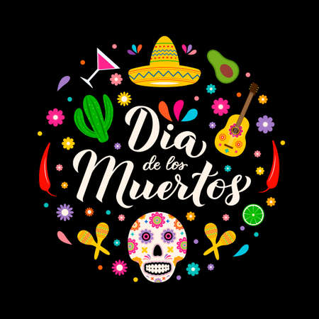 Dia de los Muertos calligraphy hand lettering with sugar skull, guitar, maracas and flowers. Latin America holiday Day of the Dead banner. Vector template for greeting card, banner, poster, invitation