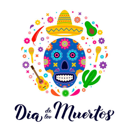 Dia de los Muertos calligraphy hand lettering with sugar skull, maracas, guitar,and flowers. Latin America holiday Day of the Dead banner. Vector template for greeting card, banner, poster, invitation