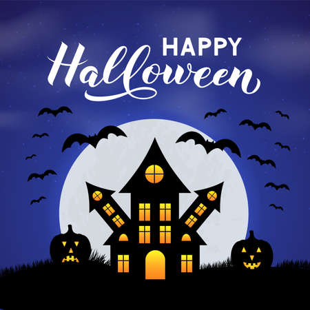 Halloween night vector illustration with Spooky Haunted House, Full moon, pumpkins, bats and calligraphy hand lettering. Easy to edit template for greeting card, banner, poster, party invitation. Ilustração