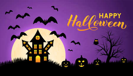 Halloween night vector illustration with Full moon Spooky Haunted House, pumpkins, bats and calligraphy hand lettering. Easy to edit template for greeting card, banner, poster, party invitation.