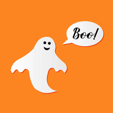 Boo hand lettering with cute cartoon ghost on orange background. Easy to edit vector template for Halloween greeting card, banner, typography poster, party invitation, t-shirt, etc. Ilustração